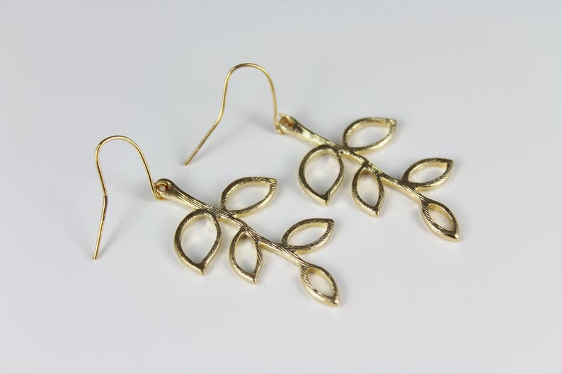 Gold leaf earrings laurel leaf earrings dangle coronas branch greek goddess jewelry lightweight earrings  1 78 long lightweight