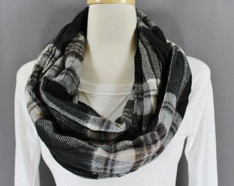 Black Grey White Brown plaid tartan super soft infinity endless loop cowl long circle scarf Fall Autumn