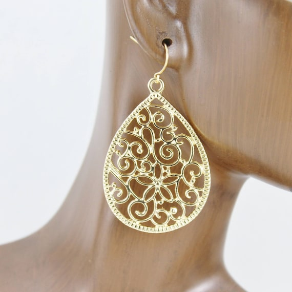 Gold Silver Bronze White Black Filigree Earrings Boho Chic teardrop Moroccan Medallion Bohemian Big Dangle scroll Earrings Rose Gold