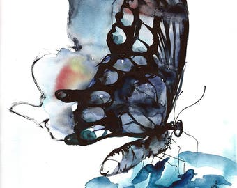 Blue black butterfly - watercolour digital print. A4, A3, 8x11, 11x16 Water color wall art for home or office