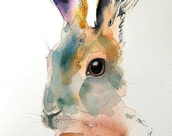 Rabbit original watercolor painting. Contemporary woodland animal wall decor