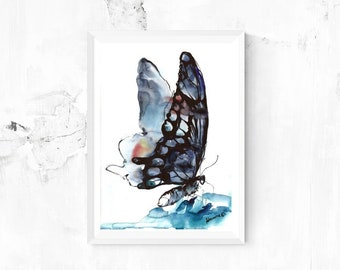 Monarch butterfly print - watercolour digital print. A4, A3, 8x11, 11x16 Water color wall art for home or office