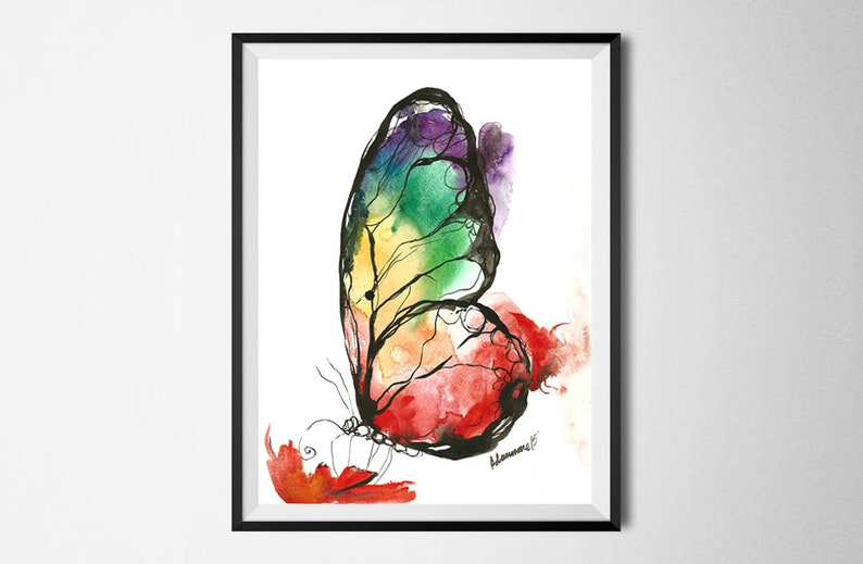 2ebc5faae Rainbow Butterfly original watercolor painting. Colorful | Etsy