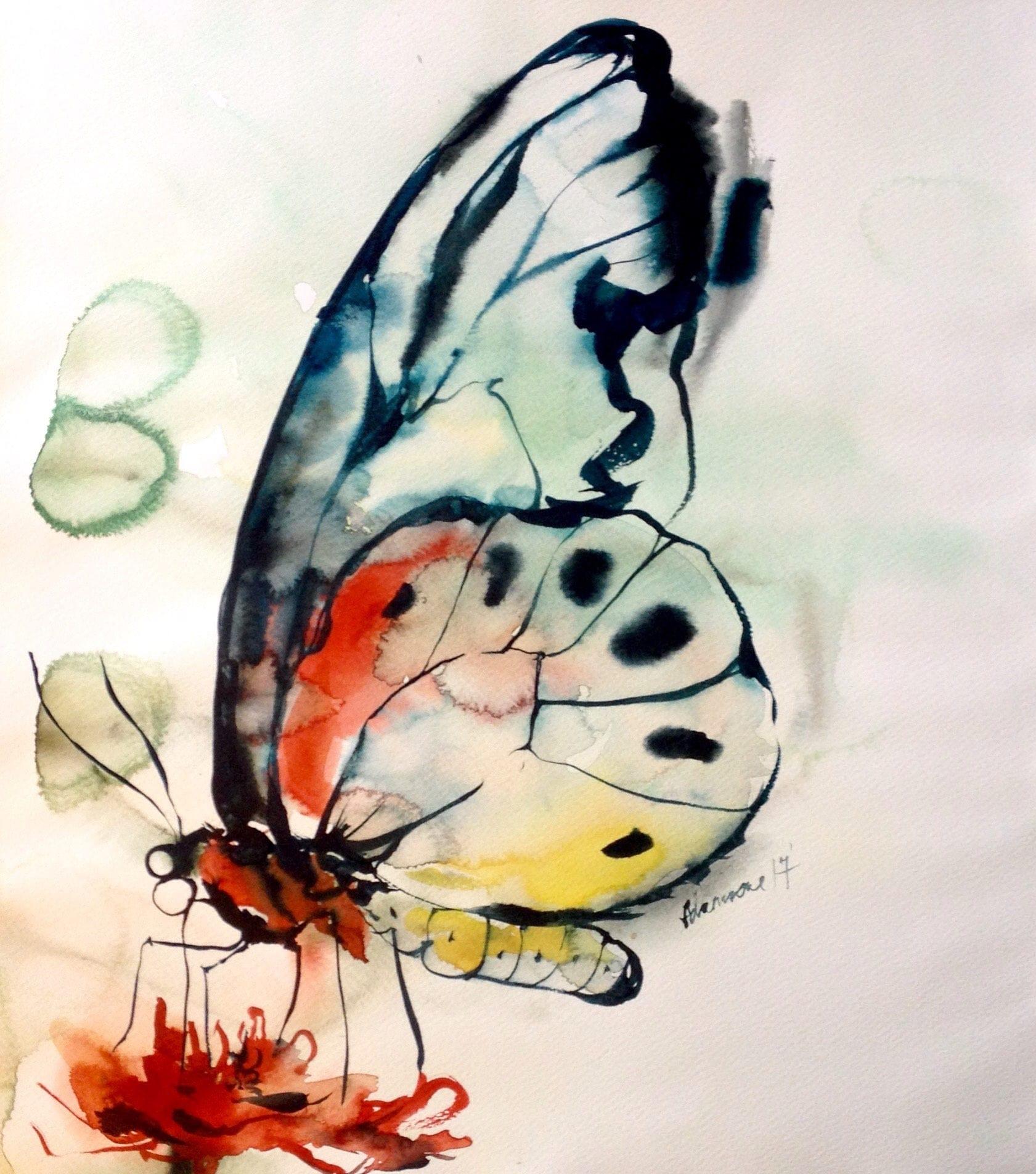 Butterfly watercolor painting original artwork. Aquarelle