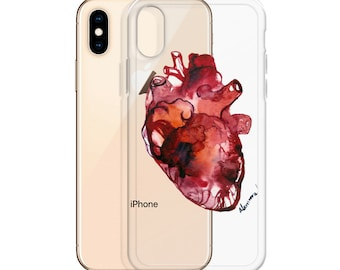 Anatomical Heart iPhone 12 Clear Case - Transparent Rubber or Plastic Samsung Cover. Unique Personalized Gift