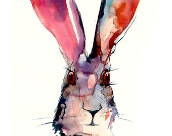 Alice in Wonderland hare art - bunny print - Watercolor wall art for hotel or home