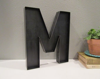 """12"""" Letter M-Handmade Steel Letters-Rustic Industrial Metal Letters-A to Z Letters-Rustic Wedding Letters-Business Letters-Metal Initials"""