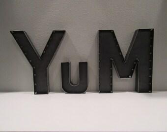 Rustic Steel YuM Sign Metal YUM Wall Sign Using Industrial Metal Letters Custom  Rustic