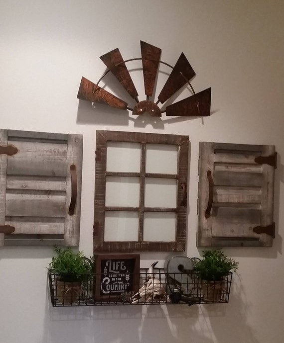 Half Windmill Galvanized Metal Country Farmhouse Wall Decor