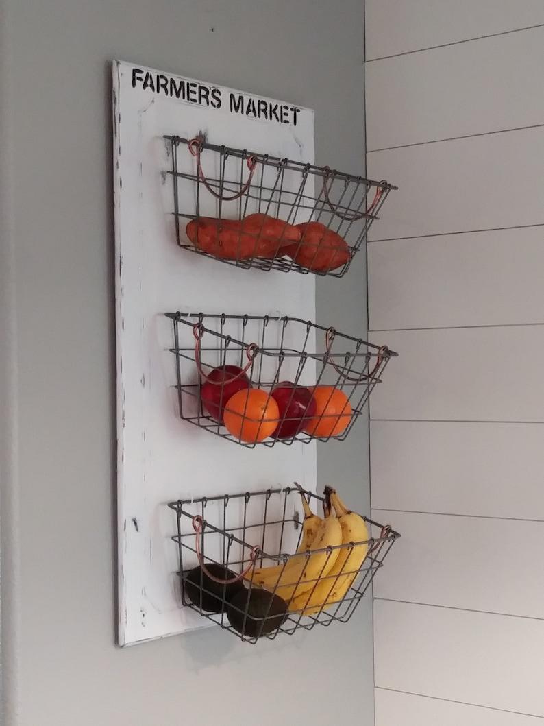 Kitchen Organizer Farmer S Market Basket Sign Fruit And Veggie Organizer Kitchen Organizer Wall Basket Farmer S Market Sign Farmhouse Decor