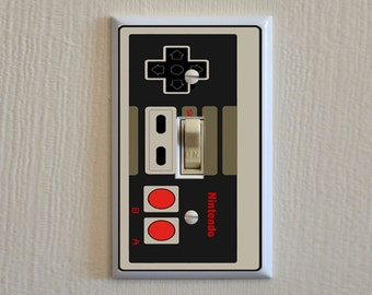 Nintendo Controller Switch Plate -  Wall Plate Cover - video game gag gift single outlet gang mancave light