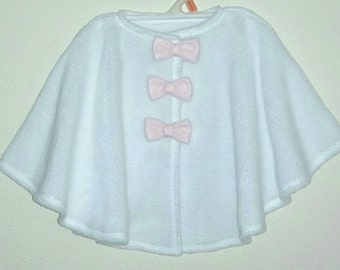 Baby girl poncho cape with matching Hat; Size: 12mo