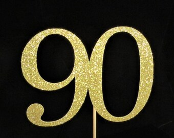 90th BirthdayAny Number Cake Topper Eighty Years Glitter Party Decorations Age 90 80th Birthday Anniversary