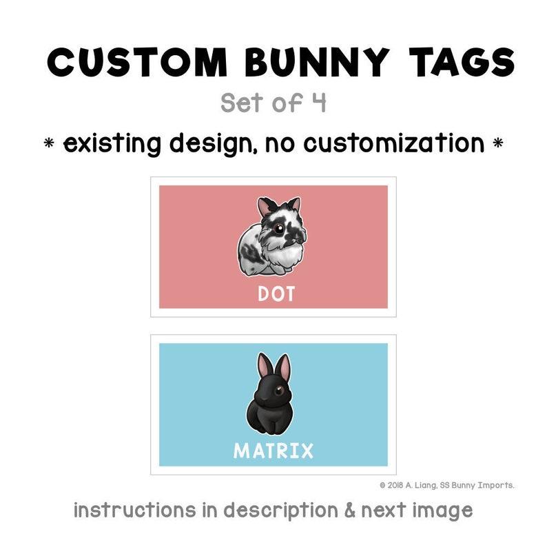 Custom rabbit tags, set of 4 laminated name tags  bunny carrier tag,  laminated tag, stroller tag, gift tag, ID tag, bag tag, luggage tag