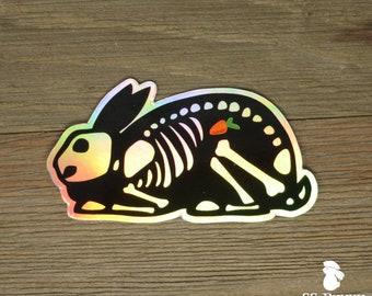 Holographic x-ray rabbit sticker with carrot; bunny skeleton sticker, halloween sticker, spooky sticker, machine sticker, creepy sticker