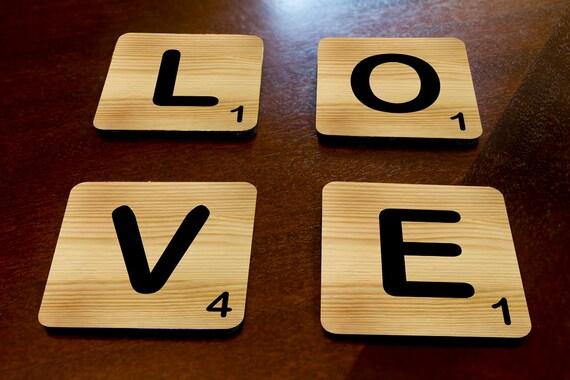 Scrabble plateau de 4 sous-verres mousse ** mots personnalisés ou lettres disponible **