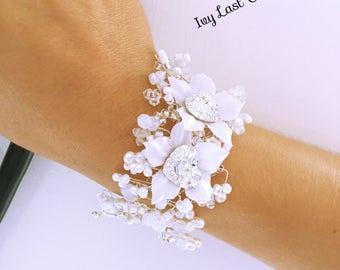 White silk flower vine wedding bracelet