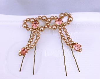 Picchi di ciambella rosa oro sposa   accessori per capelli da sposa    pettinino color oro rosa 98196b5c4e3e