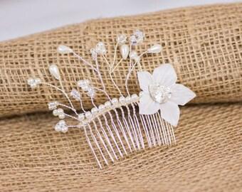 Hair comb wedding Swarovski heart