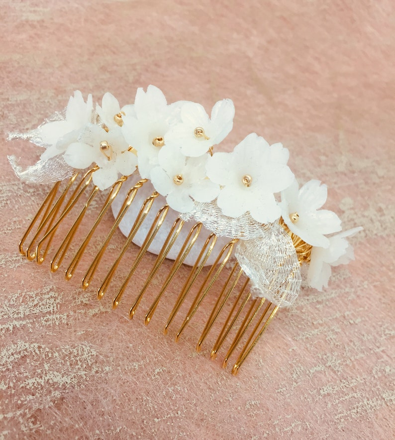 cold porcelain flowers country comb bohemian wedding comb floral comb Elmez wedding comb wedding hair accessory