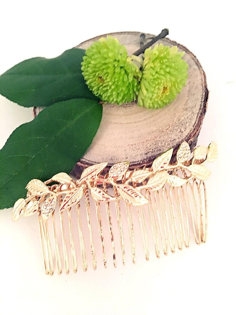 Jana wedding comb  wedding accessory  comb Golden rhinestone leaves  party headpiece  comb minimalist  minimalist jewelry