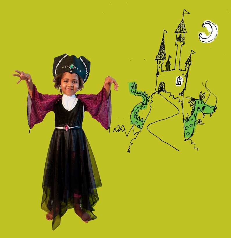 1a31ef0d42b Halloween witch costume for little girl, with glittery chenille and  sparkling polyester dress, and lurex shrug