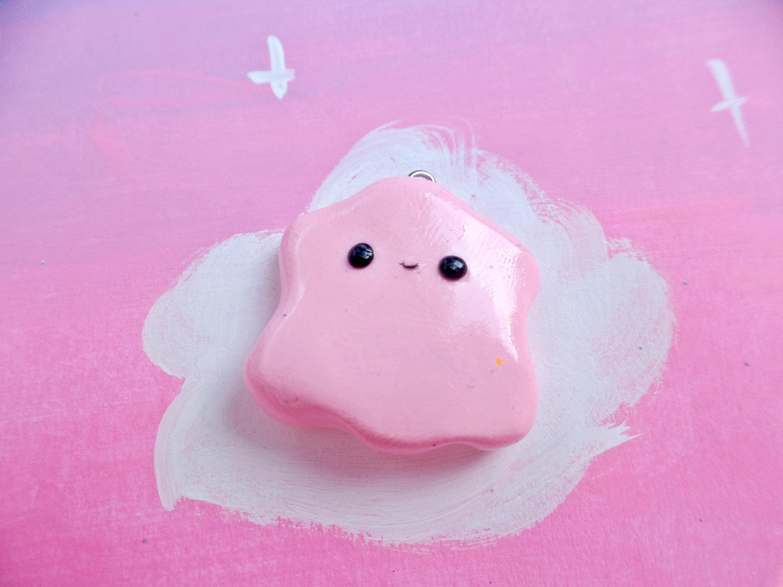 Kawaii Pink Ditto Pokemon Fan Art Cute Polymer Clay Charm