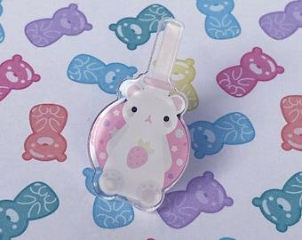 "Strawberry Bubble Tea Bear Pin - 1.39"" Acrylic - Kawaii Sweet Pink Pastel - Ready To Ship - FairyFlux"