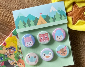 """Animal Crossing Button Pack - 1.25"""" Pastel Pinback Button - AC Pocket Camp - Ready To Ship - FairyFlux"""