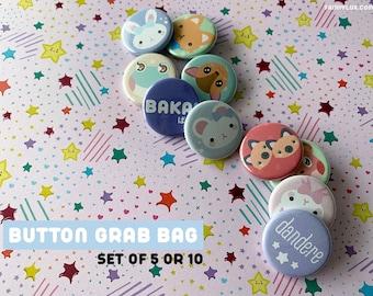 Mystery Button Grab Bag Set - Set of 5 - Pastel Pinback Blind Box - Ready To Ship - Fairyflux