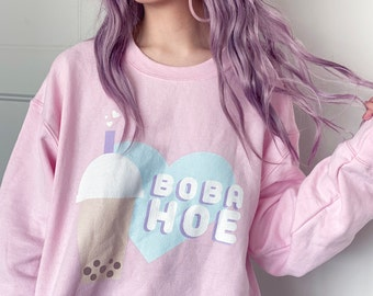 Boba Hoe Pink Sweater - Unisex Crewneck - Kawaii Pastel Bubble Tea - Made To Order - FairyFlux