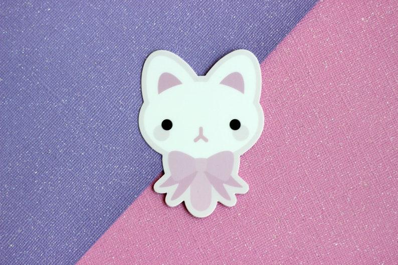 Kawaii Kitty Popsicle Vinyl Sticker  Matte Die Cut Pink  image 0