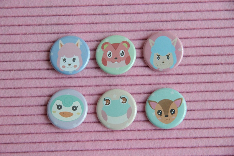 Animal Crossing Button Pack  1.25 Pastel Pinback Button image 0