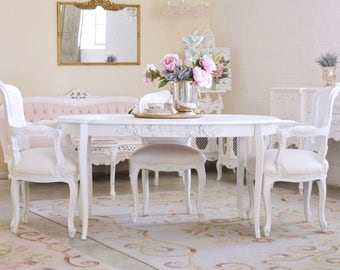 white furniture shabby chic. Plain Chic Shabby Cottage Chic Oval Dining Table With Roses French Vintage Style White  Furniture 9999 In