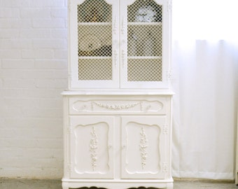 Shabby Cottage Chic White China Cabinet With Mesh Doors Vintage French Style  Furniture 9850