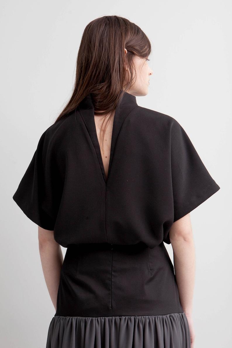 Black grey long flow skirt maxi fitted formal skirt