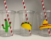 Taco Party cups, Taco Birthday Party Cups, Fiesta Party cups, Fiesta Baby Shower, Cactus Party, Taco baby shower, Cinco De Mayo Party Cups