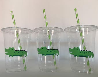 Alligator party etsy alligator party cups alligator birthday party cups alligator baby shower cups safari party cups filmwisefo