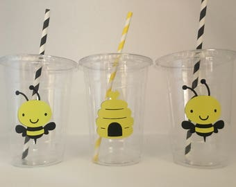 Bee Party Cups, Bumblebee Party cups, Bee Baby Shower, Bee Birthday Party Cups, Bumblebee Birthday Party cups, bumblebee baby shower