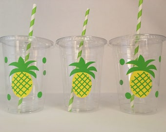 Pineapple party cups, Pineapple Birthday party cups, Pineapple Baby shower Cups, Fruit Party Cups, Pineapple Party Favors