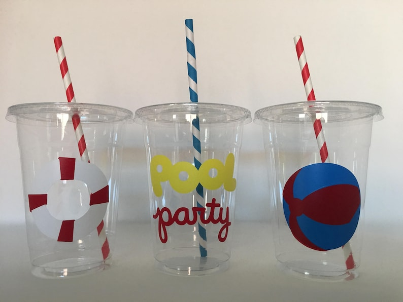 Pool birthday Party Summer Party Cups Swimming Party,pool party favors,Beach Ball Party,party supply Swimming Party Cups Pool Party Cups