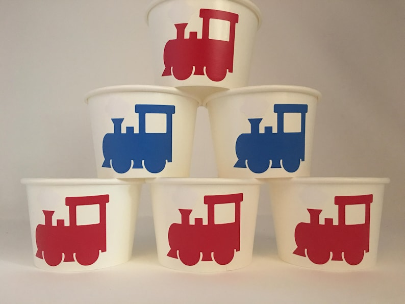 Train Birthday Party Snack Cups Train Party Snack Cups Train Party favors Train Baby Shower Choo choo party Vintage train Party cups