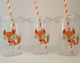 Fox Party Cups, Fox baby shower cups, Fox Birthday Party Cups, Woodland Party Cups, Woodland Baby Shower, Woodland Birthday party