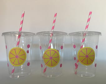 Pink lemonade party cups, Pink Lemonade Birthday Party cups, Pink Lemonade Party Favors, Lemonade Stand party Cups, Pink Lemonade shower