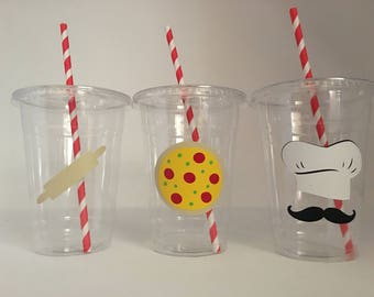 Pizza party cups, Chef Party Cups, Cooking Party Cups, Chef Birthday Party, Pizza Birthday Party, Cooking Birthday Party