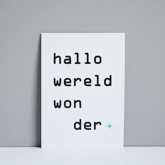 Kaart 'hallo wereldwonder'