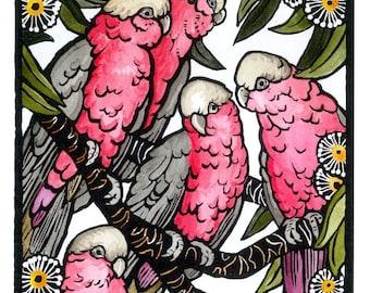 Limited edition linocut lino print Hand coloured Linoprint Australian wildlife birds gum tree 'Great Galahs.'