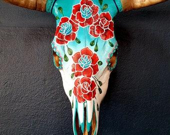 Real Steer Skull Hand painted cow horns bull