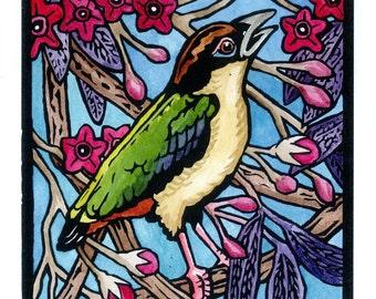 "Linocut Print, Animal Lino Cut, Original Print, Australian, nature, birds ""Noisy Pita"""