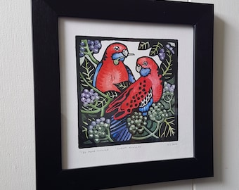 Original Linocut Print, Hand Painted Relief print, Linoprint Limited edition, Hand coloured  Australian wildlife 'Crimson Rosellas.'